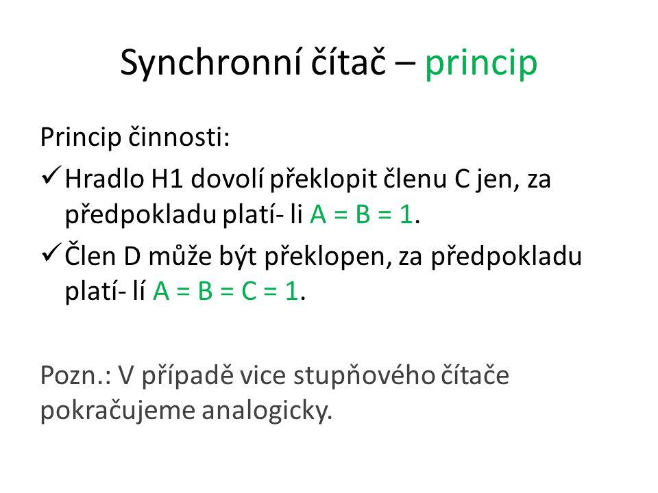 Synchronní čítač – princip Princip činnosti: Hradlo H1 dovolí překlopit členu C jen, za předpokladu platí- li A = B = 1.