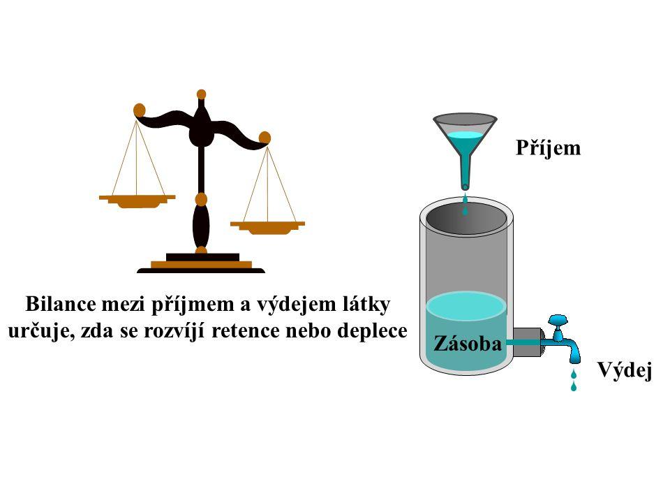 Příjem Výdej Zásoba Bilance mezi příjmem a výdejem látky určuje, zda se rozvíjí retence nebo deplece
