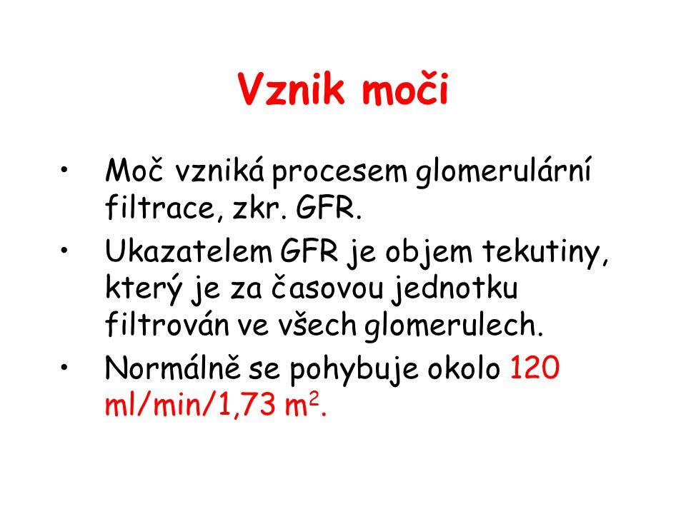 Vznik moči Moč vzniká procesem glomerulární filtrace, zkr. GFR. Ukazatelem GFR je objem tekutiny, který je za časovou jednotku filtrován ve všech glom