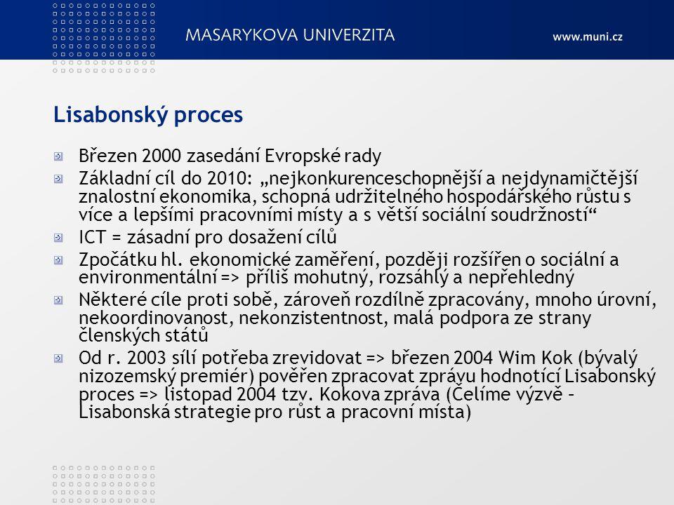"""Lisabonský proces Březen 2000 zasedání Evropské rady Základní cíl do 2010: """"nejkonkurenceschopnější a nejdynamičtější znalostní ekonomika, schopná udr"""