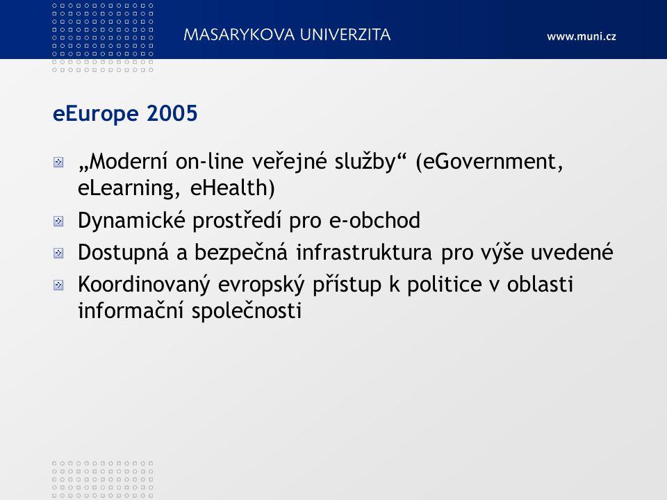 """eEurope 2005 """"Moderní on-line veřejné služby"""" (eGovernment, eLearning, eHealth) Dynamické prostředí pro e-obchod Dostupná a bezpečná infrastruktura pr"""