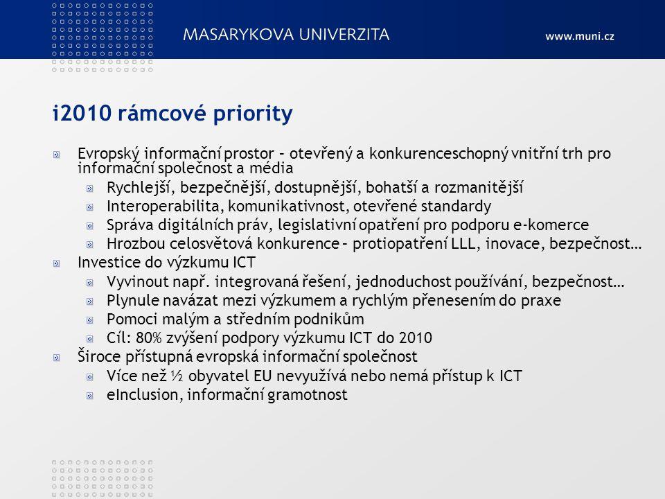 i2010 rámcové priority Evropský informační prostor – otevřený a konkurenceschopný vnitřní trh pro informační společnost a média Rychlejší, bezpečnější