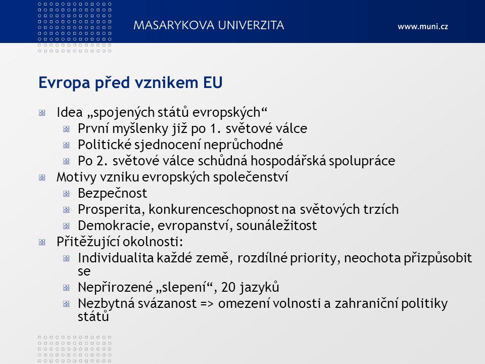 """Evropa před vznikem EU Idea """"spojených států evropských"""" První myšlenky již po 1. světové válce Politické sjednocení neprůchodné Po 2. světové válce s"""