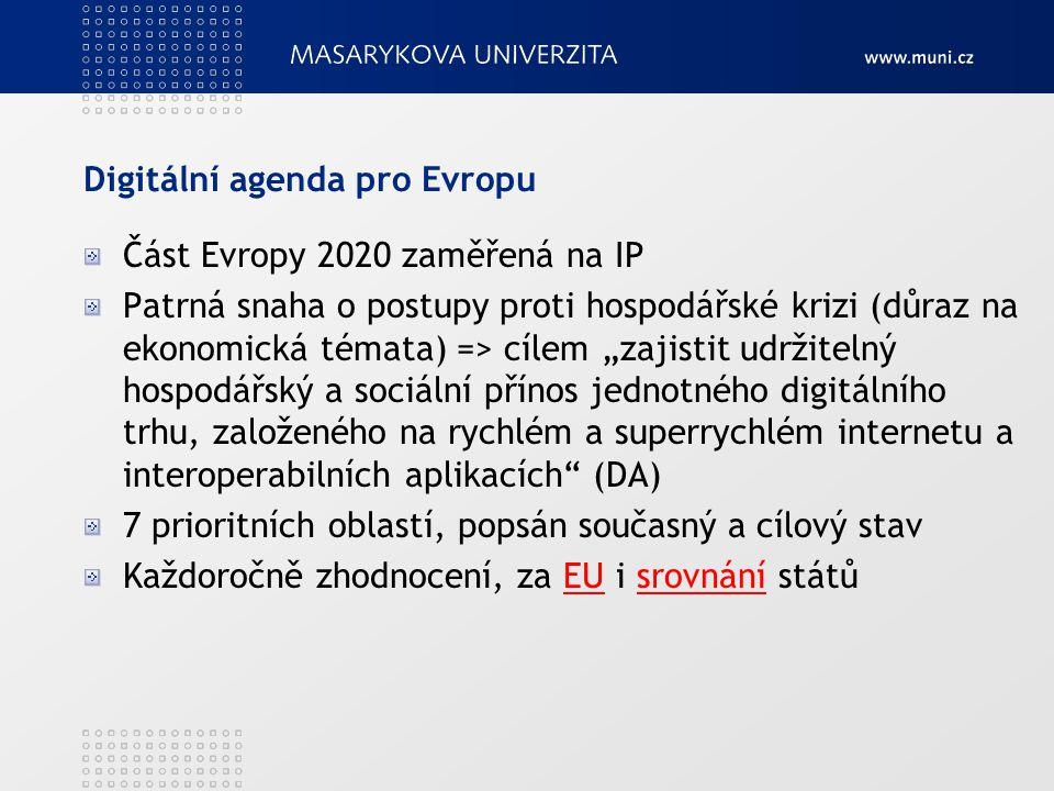"""Digitální agenda pro Evropu Část Evropy 2020 zaměřená na IP Patrná snaha o postupy proti hospodářské krizi (důraz na ekonomická témata) => cílem """"zajistit udržitelný hospodářský a sociální přínos jednotného digitálního trhu, založeného na rychlém a superrychlém internetu a interoperabilních aplikacích (DA) 7 prioritních oblastí, popsán současný a cílový stav Každoročně zhodnocení, za EU i srovnání státůEUsrovnání"""