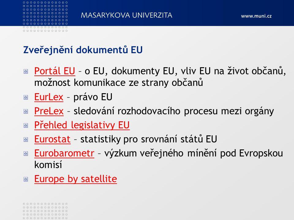 Zveřejnění dokumentů EU Portál EUPortál EU – o EU, dokumenty EU, vliv EU na život občanů, možnost komunikace ze strany občanů EurLexEurLex – právo EU