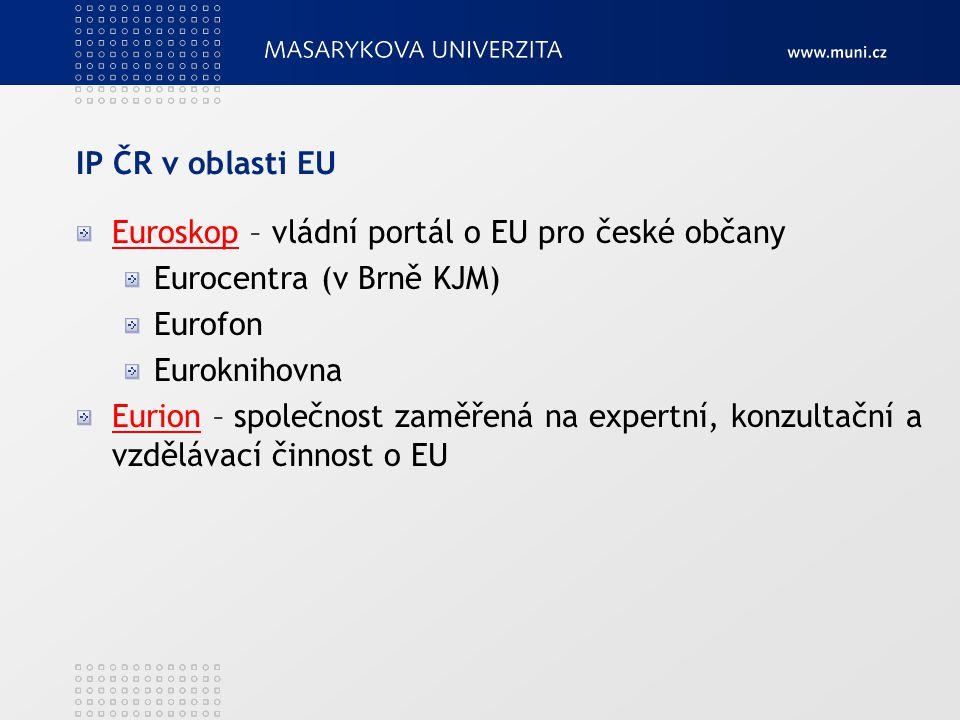 IP ČR v oblasti EU EuroskopEuroskop – vládní portál o EU pro české občany Eurocentra (v Brně KJM) Eurofon Euroknihovna EurionEurion – společnost zaměřená na expertní, konzultační a vzdělávací činnost o EU