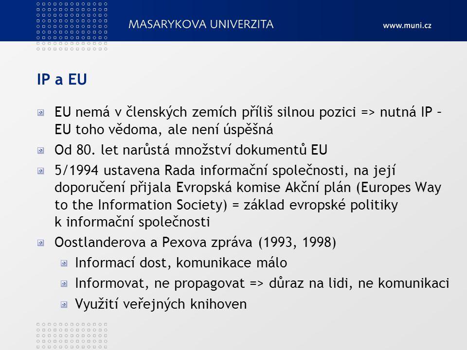 IP a EU EU nemá v členských zemích příliš silnou pozici => nutná IP – EU toho vědoma, ale není úspěšná Od 80. let narůstá množství dokumentů EU 5/1994