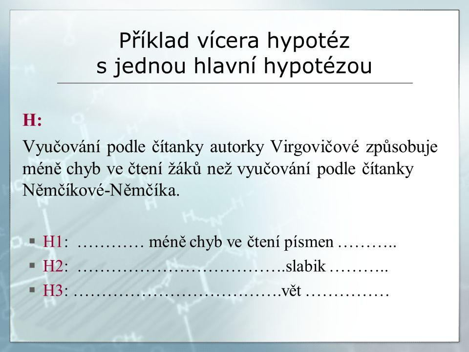 Příklad vícera hypotéz s jednou hlavní hypotézou H: Vyučování podle čítanky autorky Virgovičové způsobuje méně chyb ve čtení žáků než vyučování podle