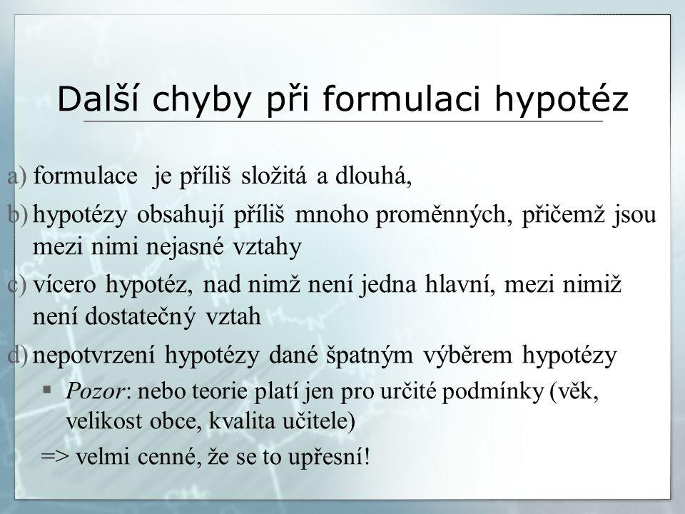 Příklad špatného formulování hypotézy  Chybná formulace hypotézy dle bodů a, b (formulace je příliš složitá a dlouhá, hypotézy obsahují příliš mnoho proměnných, přičemž jsou mezi nimi nejasné vztahy) Hudební aktivita žáků 2.