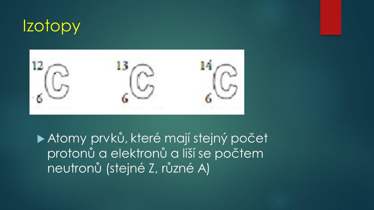 Pomocí PSP urči počet základních částic  Kyslík  Vodík  Síra  Chlor  Železo  Uran
