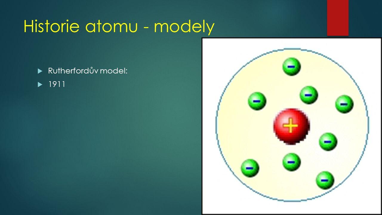Historie atomu - modely  Bohrův model  1913  Vodíkový atom