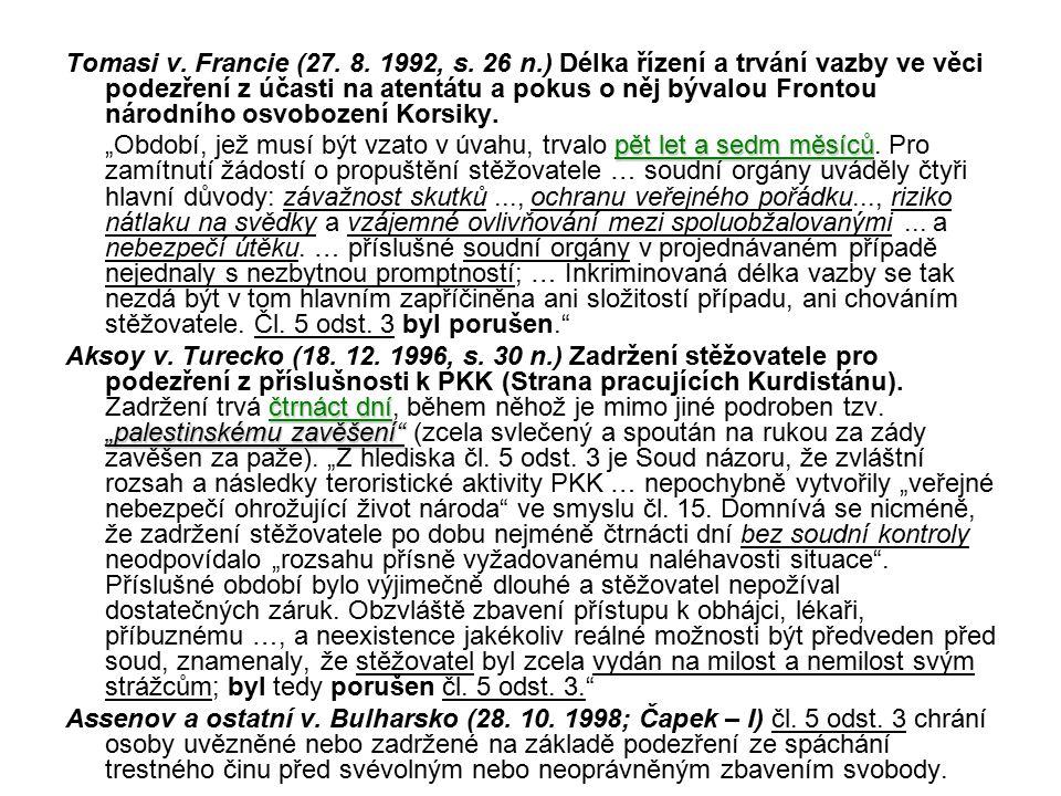 Tomasi v.Francie (27. 8. 1992, s.