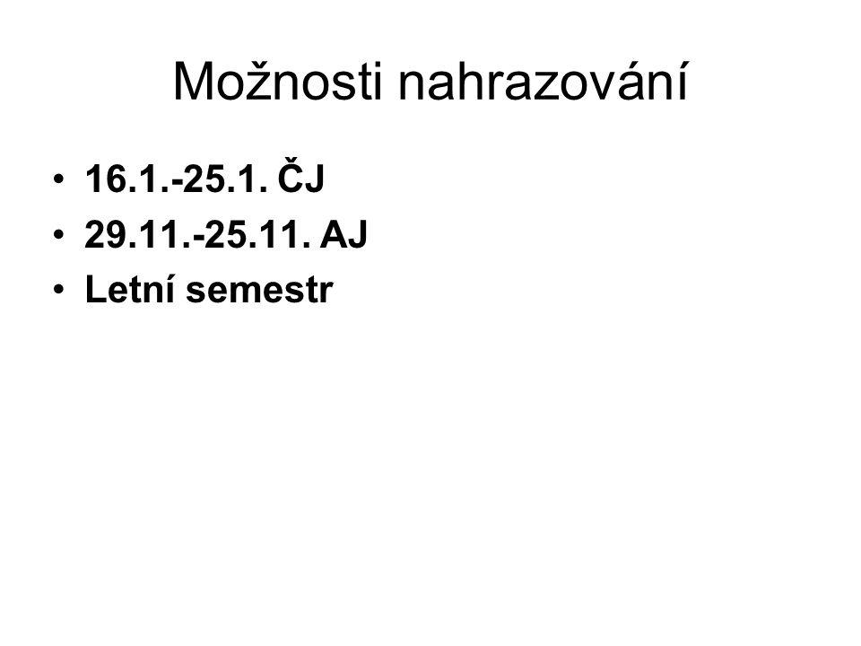 Možnosti nahrazování 16.1.-25.1. ČJ 29.11.-25.11. AJ Letní semestr