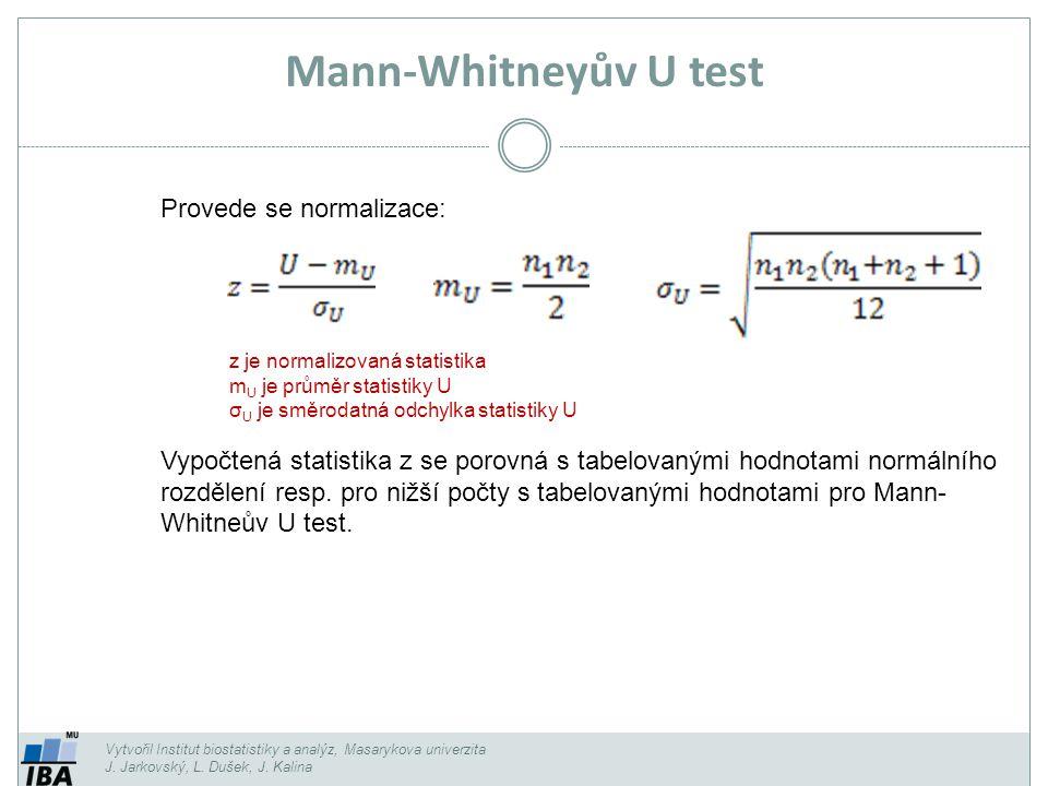 Vytvořil Institut biostatistiky a analýz, Masarykova univerzita J. Jarkovský, L. Dušek, J. Kalina Mann-Whitneyův U test Provede se normalizace: Vypočt