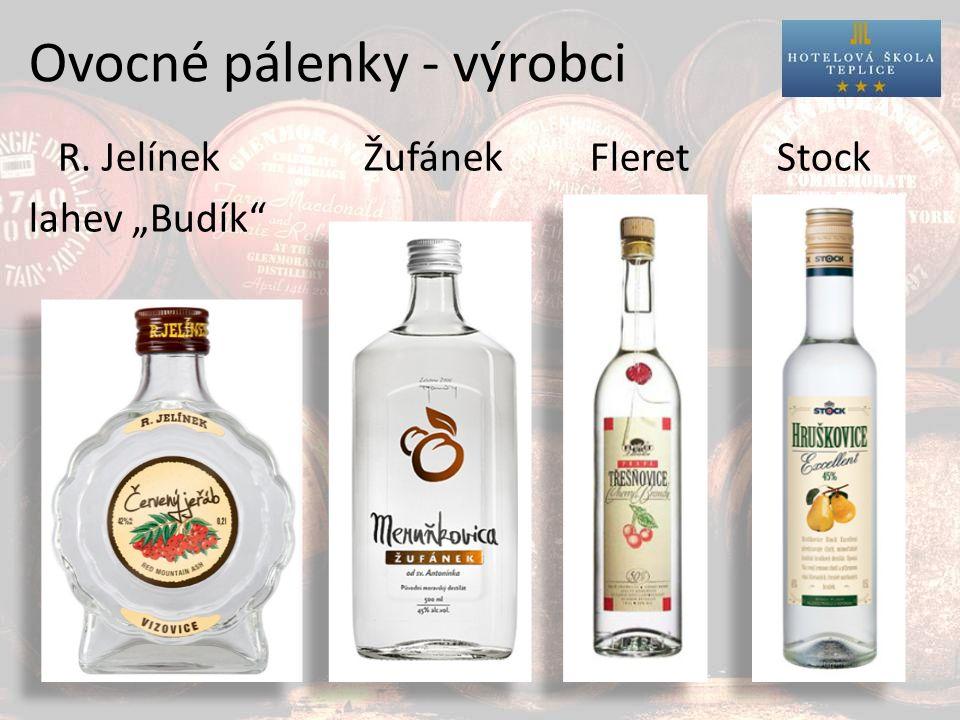 """Ovocné pálenky - výrobci R. Jelínek Žufánek Fleret Stock lahev """"Budík"""