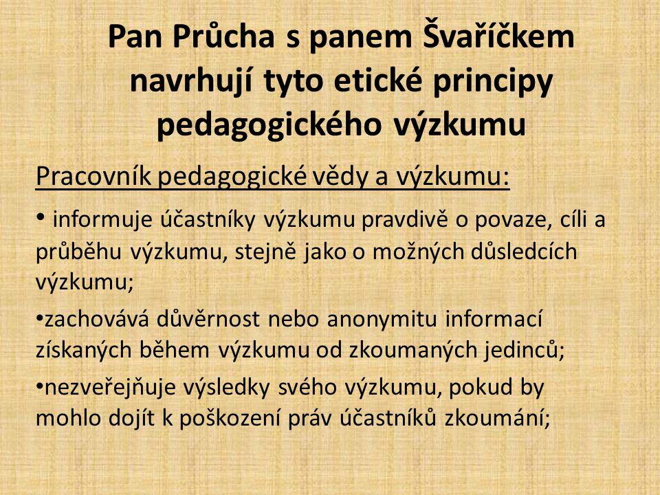 Pan Průcha s panem Švaříčkem navrhují tyto etické principy pedagogického výzkumu Pracovník pedagogické vědy a výzkumu: informuje účastníky výzkumu pra