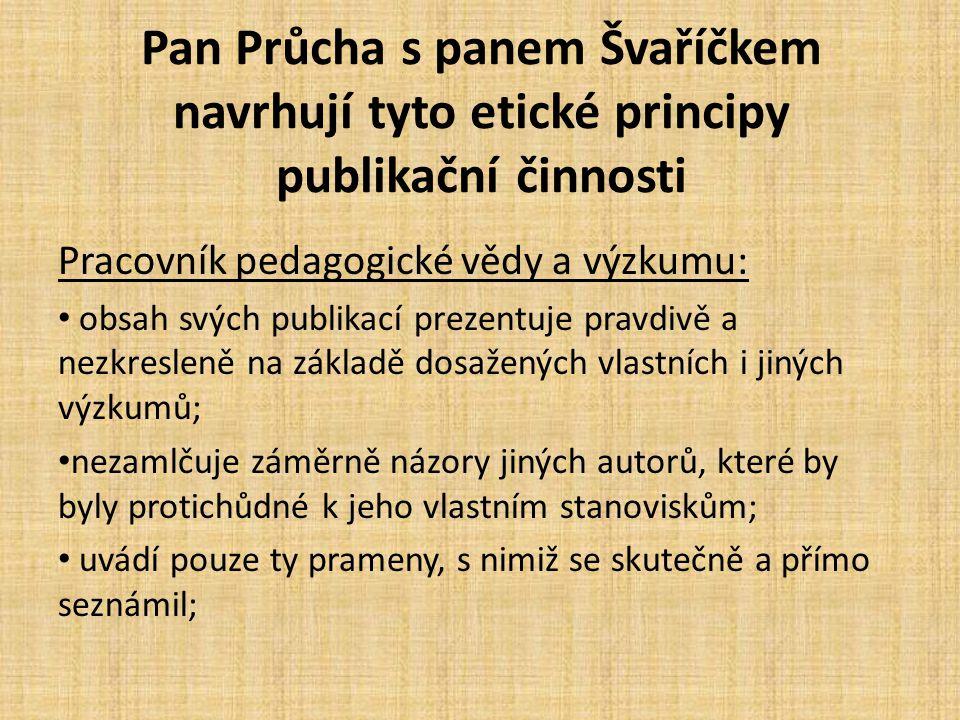 Pan Průcha s panem Švaříčkem navrhují tyto etické principy publikační činnosti Pracovník pedagogické vědy a výzkumu: obsah svých publikací prezentuje