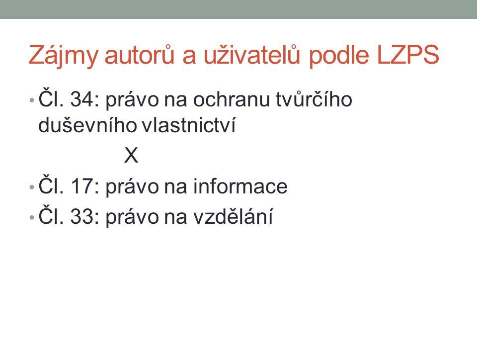 Zájmy autorů a uživatelů podle LZPS Čl. 34: právo na ochranu tvůrčího duševního vlastnictví X Čl. 17: právo na informace Čl. 33: právo na vzdělání