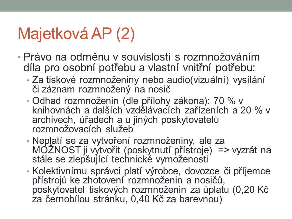 Majetková AP (2) Právo na odměnu v souvislosti s rozmnožováním díla pro osobní potřebu a vlastní vnitřní potřebu: Za tiskové rozmnoženiny nebo audio(v