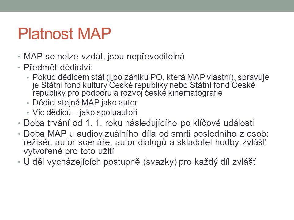 Platnost MAP MAP se nelze vzdát, jsou nepřevoditelná Předmět dědictví: Pokud dědicem stát (i po zániku PO, která MAP vlastní), spravuje je Státní fond