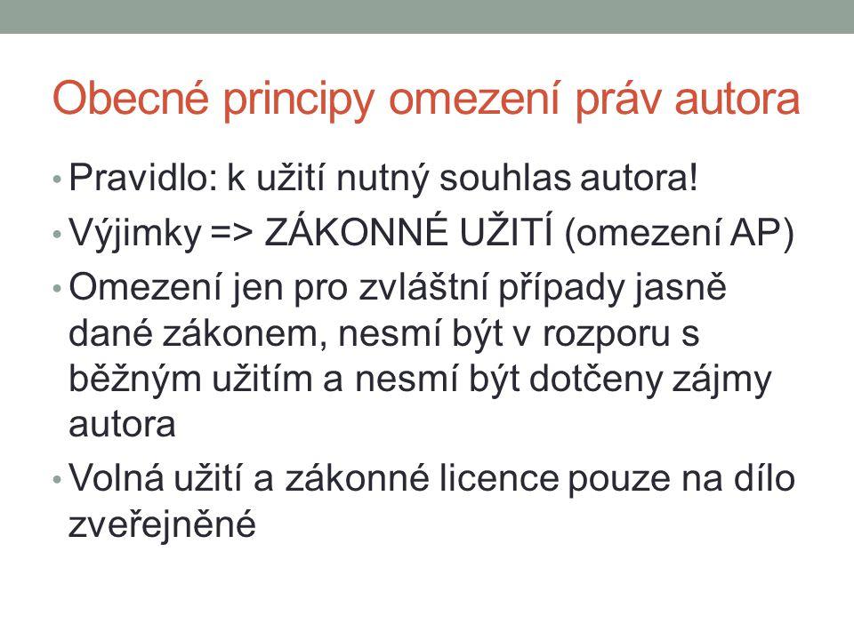 Obecné principy omezení práv autora Pravidlo: k užití nutný souhlas autora! Výjimky => ZÁKONNÉ UŽITÍ (omezení AP) Omezení jen pro zvláštní případy jas