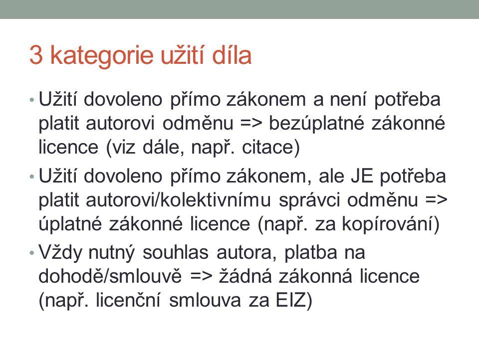 3 kategorie užití díla Užití dovoleno přímo zákonem a není potřeba platit autorovi odměnu => bezúplatné zákonné licence (viz dále, např. citace) Užití