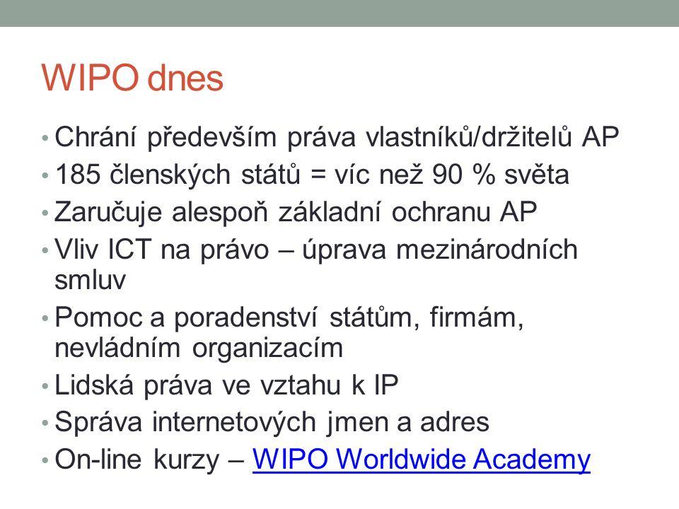 WIPO dnes Chrání především práva vlastníků/držitelů AP 185 členských států = víc než 90 % světa Zaručuje alespoň základní ochranu AP Vliv ICT na právo