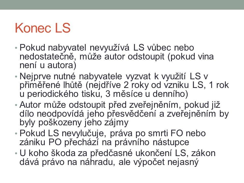 Konec LS Pokud nabyvatel nevyužívá LS vůbec nebo nedostatečně, může autor odstoupit (pokud vina není u autora) Nejprve nutné nabyvatele vyzvat k využi