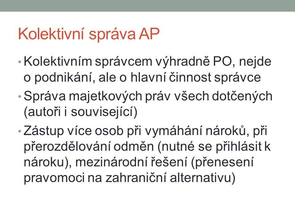 Kolektivní správa AP Kolektivním správcem výhradně PO, nejde o podnikání, ale o hlavní činnost správce Správa majetkových práv všech dotčených (autoři