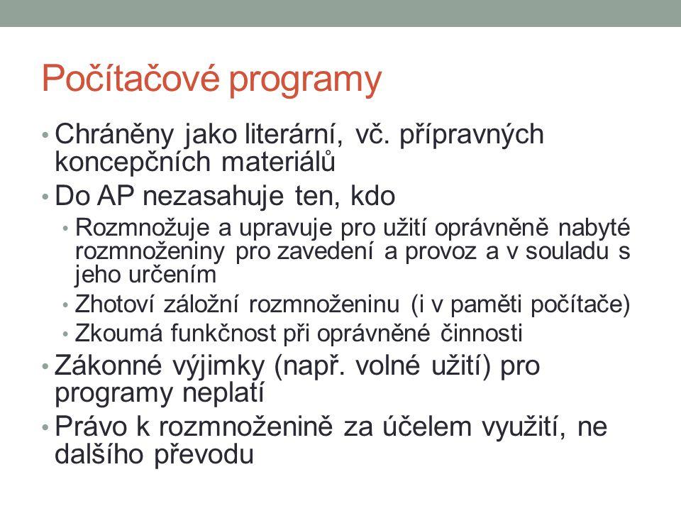 Počítačové programy Chráněny jako literární, vč.
