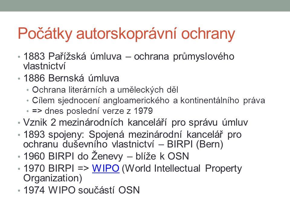 WIPO dnes Chrání především práva vlastníků/držitelů AP 187 členských států = víc než 90 % světa 187 členských států Zaručuje alespoň základní ochranu AP Vliv ICT na právo – úprava mezinárodních smluv Pomoc a poradenství státům, firmám, nevládním organizacím Lidská práva ve vztahu k IP Správa internetových jmen a adres On-line kurzy – WIPO Worldwide AcademyWIPO Worldwide Academy