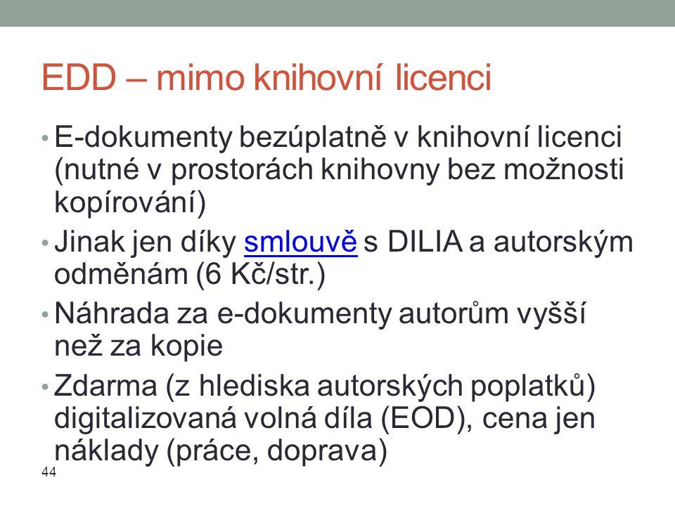 EDD – mimo knihovní licenci E-dokumenty bezúplatně v knihovní licenci (nutné v prostorách knihovny bez možnosti kopírování) Jinak jen díky smlouvě s DILIA a autorským odměnám (6 Kč/str.)smlouvě Náhrada za e-dokumenty autorům vyšší než za kopie Zdarma (z hlediska autorských poplatků) digitalizovaná volná díla (EOD), cena jen náklady (práce, doprava) 44