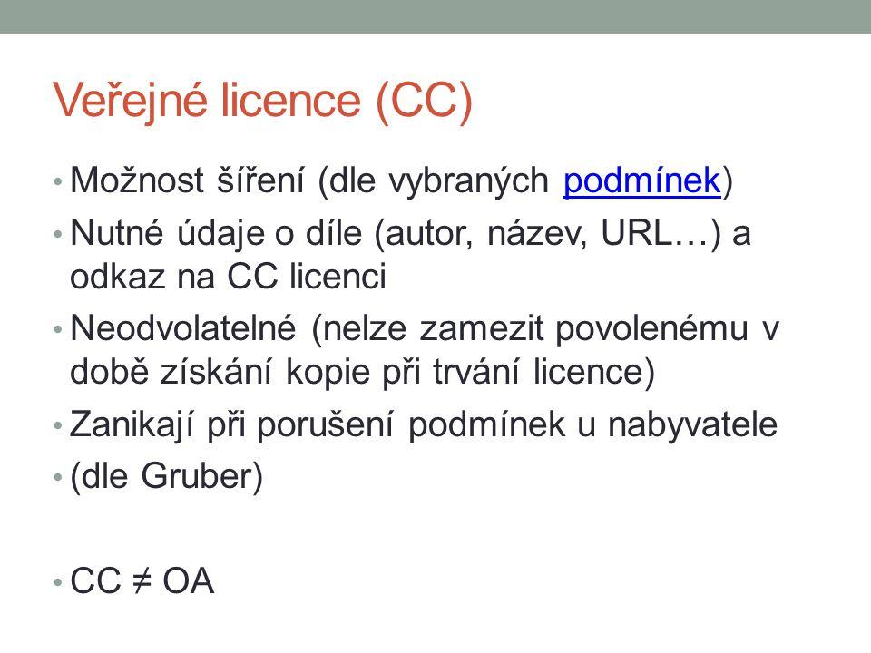 Veřejné licence (CC) Možnost šíření (dle vybraných podmínek)podmínek Nutné údaje o díle (autor, název, URL…) a odkaz na CC licenci Neodvolatelné (nelze zamezit povolenému v době získání kopie při trvání licence) Zanikají při porušení podmínek u nabyvatele (dle Gruber) CC ≠ OA