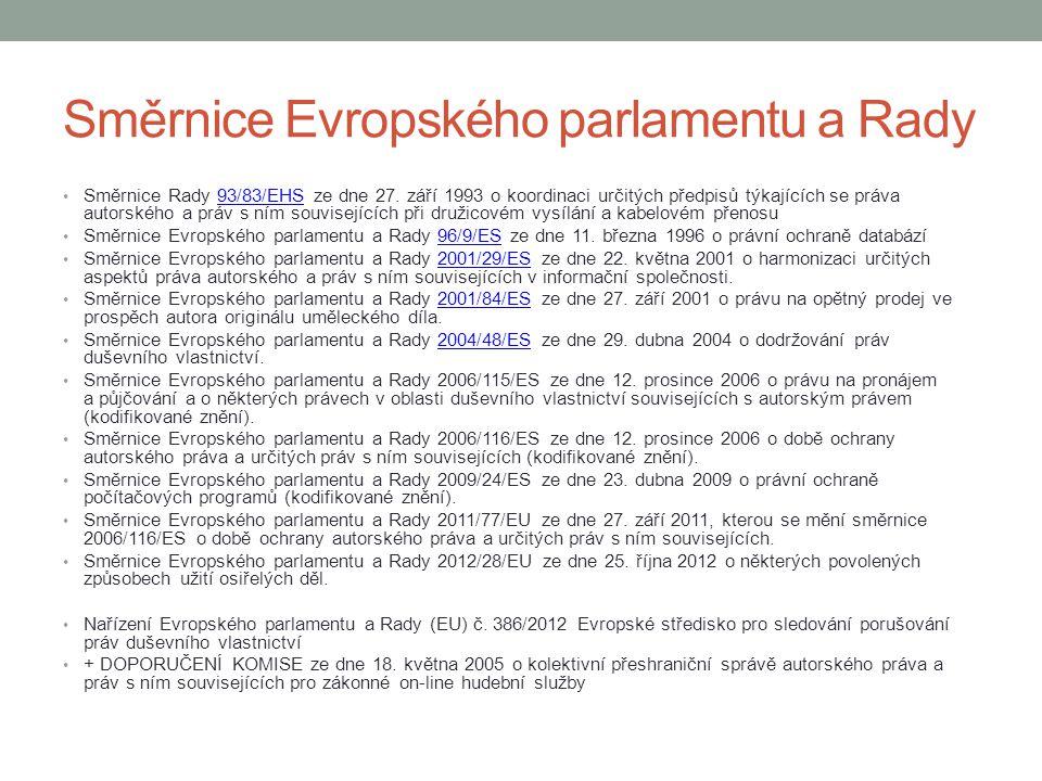 Další licence (2) Omezení práva autorského k dílu soubornému: umožňuje oprávněný přístup a běžné využívání souborného díla Licence pro zdravotně postižené: specifikace umožnění užití děl pro zdravotně postižené, nutné přiměřené užití a bez účelu prospěchu (Marrakesh Treaty to Facilitate Access to Published Works for Persons Who Are Blind, Visually Impaired, or Otherwise Print Disabled) Licence pro dočasné rozmnoženiny: účelem umožnit přenos díla po síti mezi třetími stranami prostředníkem nebo oprávněné užití díla Licence pro fotografickou podobiznu: rozmnoženina vlastní podobizny, která byla úplatně objednána, lze i nevýdělečně užít, pokud není zamítnuto Nepodstatné vedlejší užití díla: náhodné užití v souvislosti se zamýšleným užitím jiného díla či prvku Licence k dílům užitého umění a dílům architektonickým: pronájem, půjčování a vystavení užitého umění či architektonického díla, návrh a realizace změn stavby při zachování hodnoty a uvědomění autora Licence pro sociální zařízení: provozování záznamů vysílaných děl v sociálních zařízeních (nemocnice, vězení…) Užití originálu nebo rozmnoženiny díla výtvarného, fotografie nebo díla vyjádřeného postupem podobným fotografii jeho vystavením: lze zapovědět