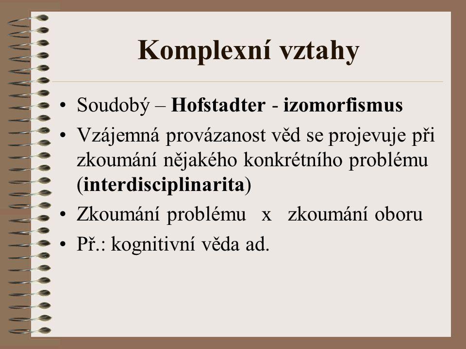 Komplexní vztahy Soudobý – Hofstadter - izomorfismus Vzájemná provázanost věd se projevuje při zkoumání nějakého konkrétního problému (interdisciplina