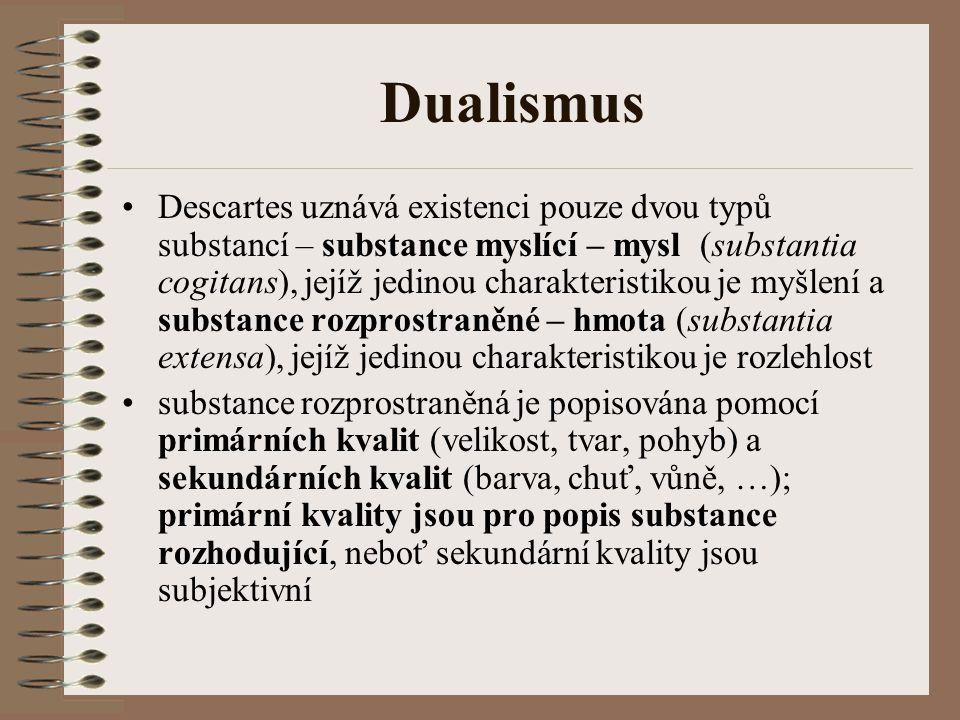 Dualismus Descartes uznává existenci pouze dvou typů substancí – substance myslící – mysl (substantia cogitans), jejíž jedinou charakteristikou je myš