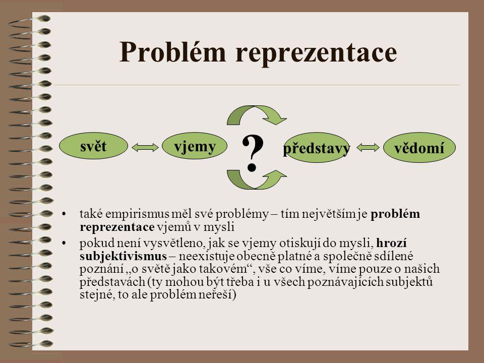 Problém reprezentace také empirismus měl své problémy – tím největším je problém reprezentace vjemů v mysli pokud není vysvětleno, jak se vjemy otisku
