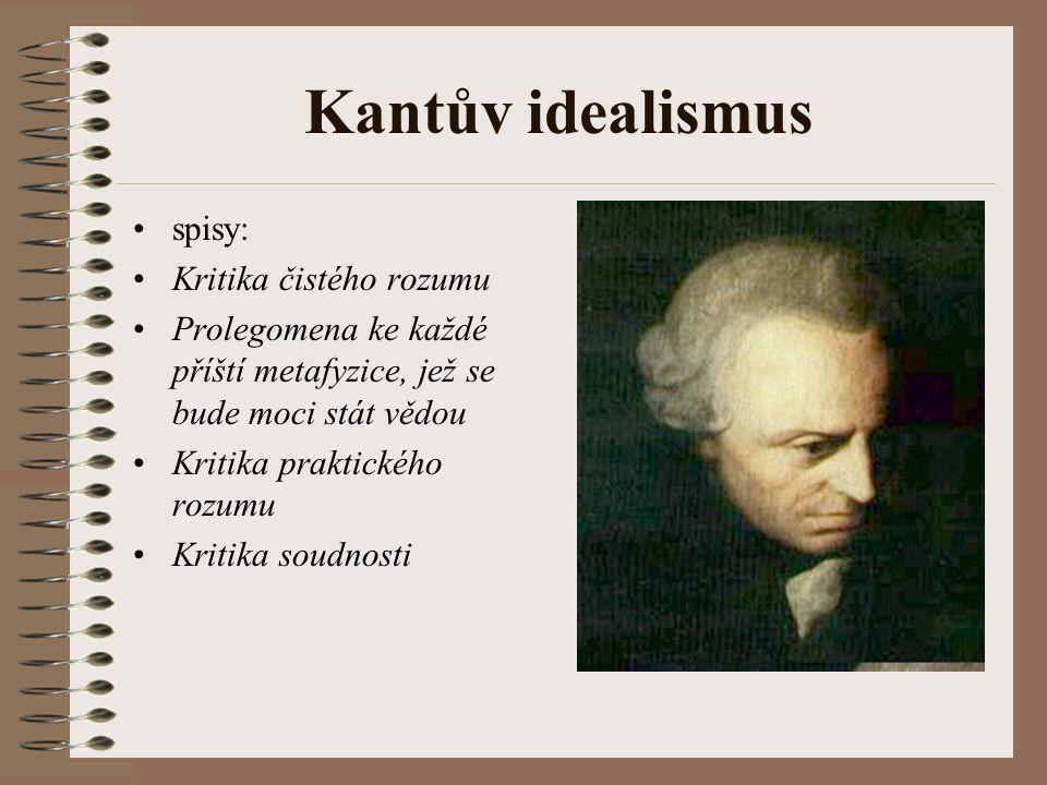 Kantův idealismus spisy: Kritika čistého rozumu Prolegomena ke každé příští metafyzice, jež se bude moci stát vědou Kritika praktického rozumu Kritika