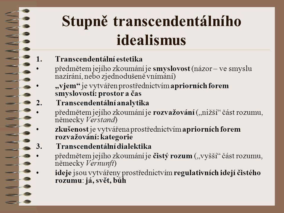 Stupně transcendentálního idealismus 1.Transcendentální estetika předmětem jejího zkoumání je smyslovost (názor – ve smyslu nazírání, nebo zjednodušen