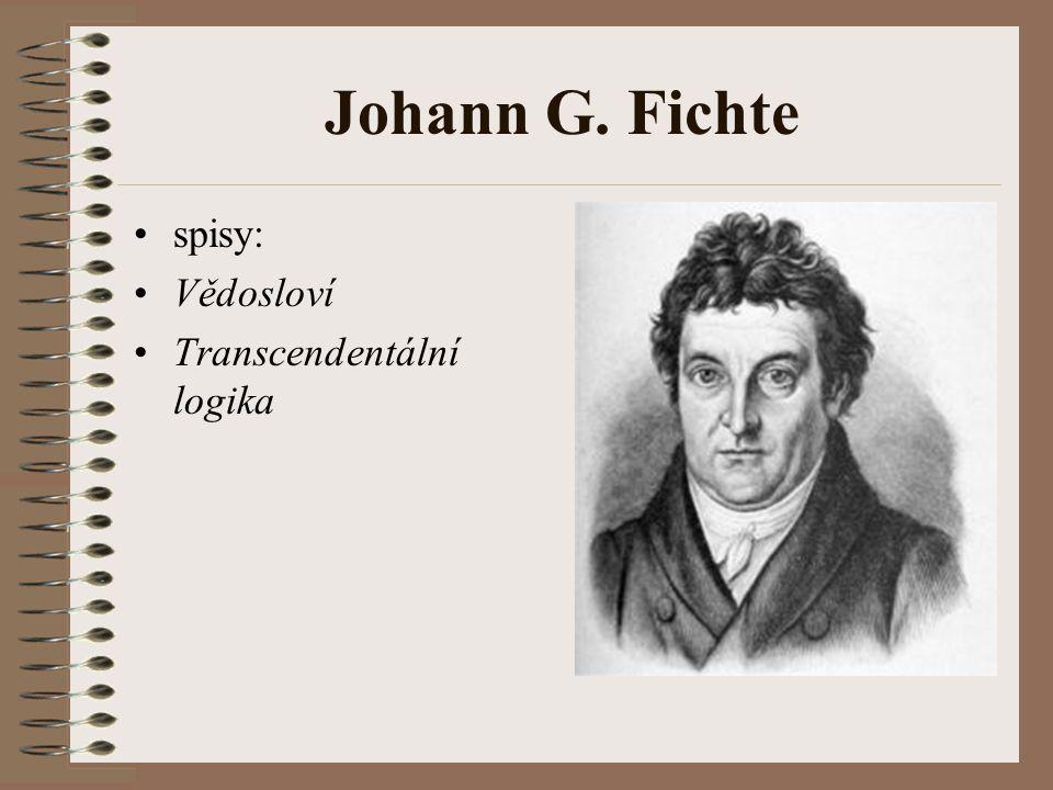 Johann G. Fichte spisy: Vědosloví Transcendentální logika