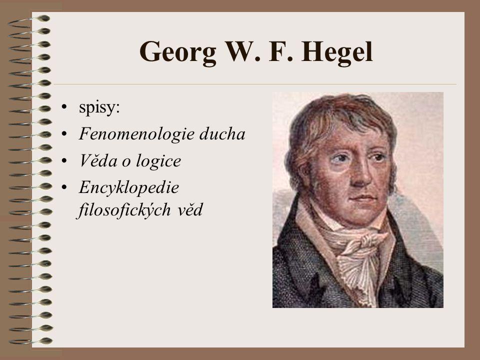 Georg W. F. Hegel spisy: Fenomenologie ducha Věda o logice Encyklopedie filosofických věd