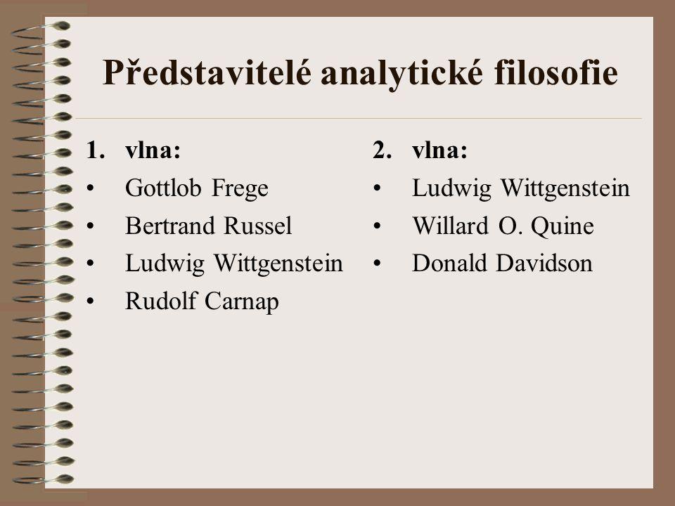 Představitelé analytické filosofie 1.vlna: Gottlob Frege Bertrand Russel Ludwig Wittgenstein Rudolf Carnap 2.vlna: Ludwig Wittgenstein Willard O. Quin