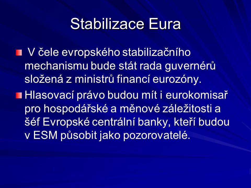 Stabilizace Eura V čele evropského stabilizačního mechanismu bude stát rada guvernérů složená z ministrů financí eurozóny. Hlasovací právo budou mít i