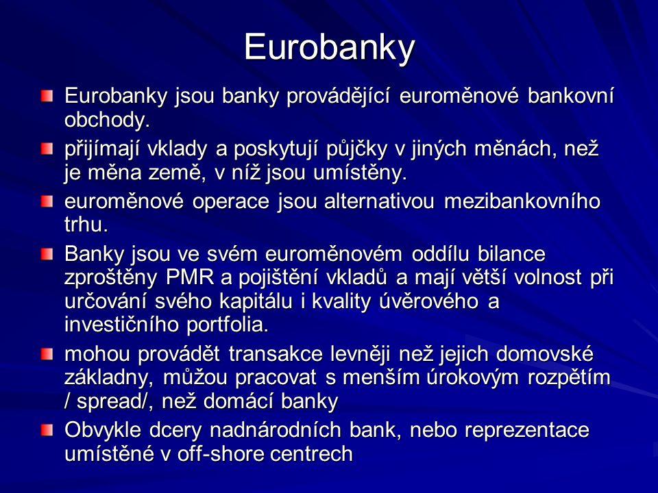 Eurobanky Eurobanky jsou banky provádějící euroměnové bankovní obchody. přijímají vklady a poskytují půjčky v jiných měnách, než je měna země, v níž j