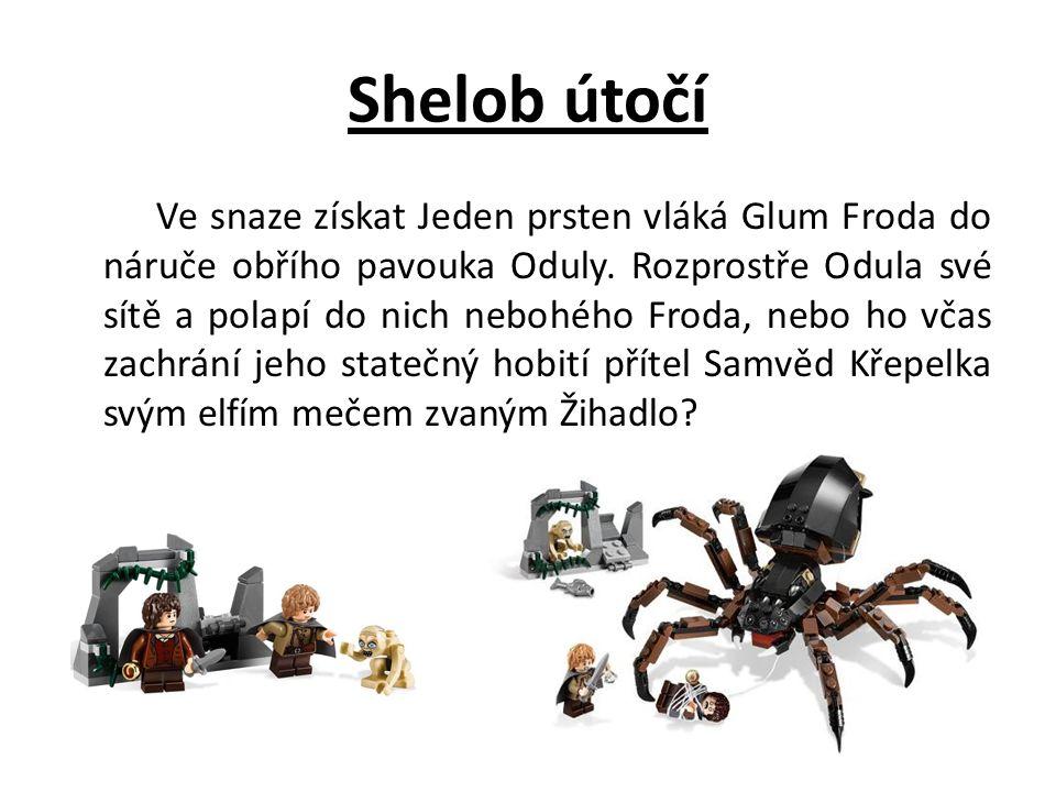 Shelob útočí Ve snaze získat Jeden prsten vláká Glum Froda do náruče obřího pavouka Oduly. Rozprostře Odula své sítě a polapí do nich nebohého Froda,