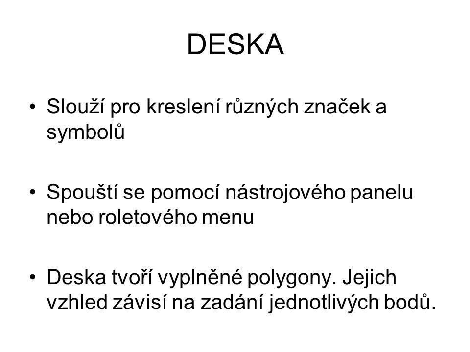 DESKA Slouží pro kreslení různých značek a symbolů Spouští se pomocí nástrojového panelu nebo roletového menu Deska tvoří vyplněné polygony.