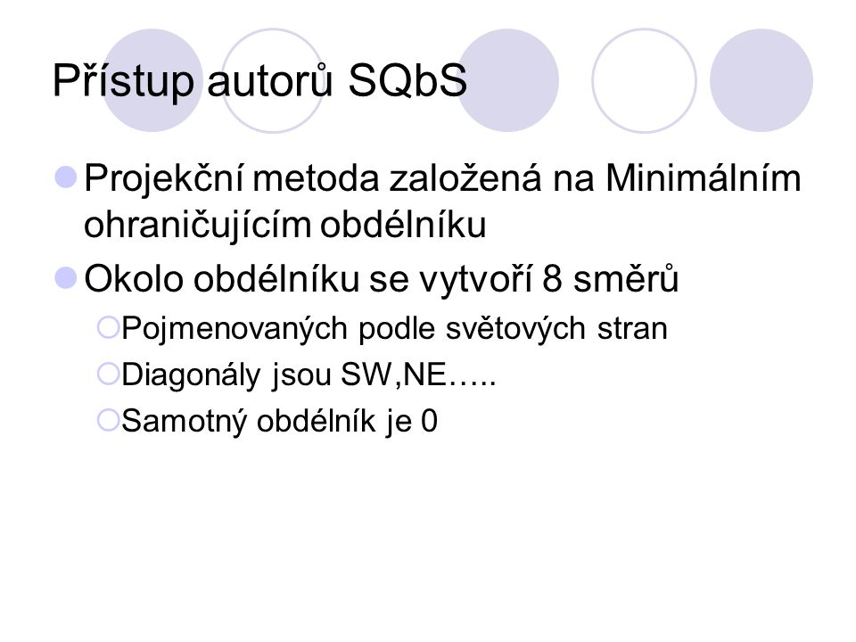 Přístup autorů SQbS Projekční metoda založená na Minimálním ohraničujícím obdélníku Okolo obdélníku se vytvoří 8 směrů  Pojmenovaných podle světových