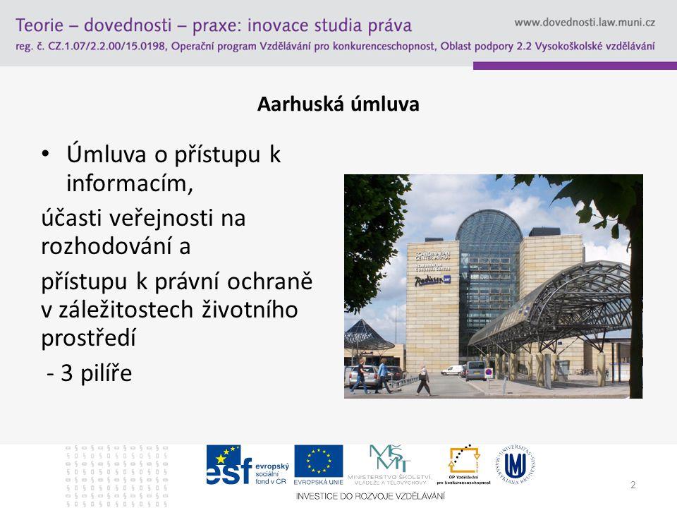 Aarhuská úmluva Úmluva o přístupu k informacím, účasti veřejnosti na rozhodování a přístupu k právní ochraně v záležitostech životního prostředí - 3 pilíře 2