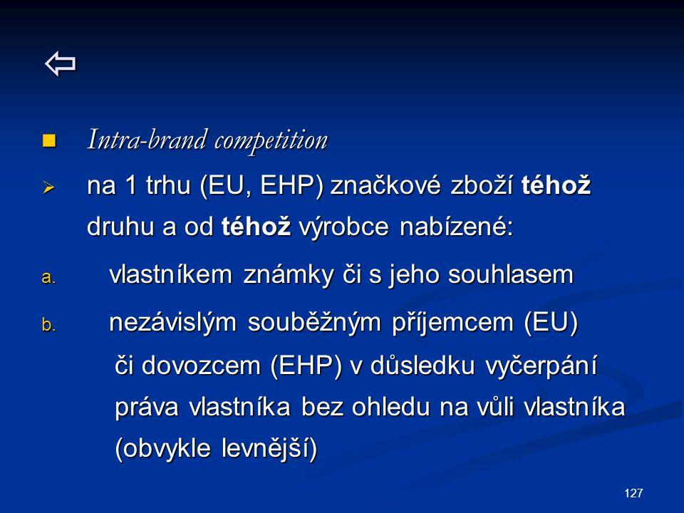 127  Intra-brand competition Intra-brand competition  na 1 trhu (EU, EHP) značkové zboží téhož druhu a od téhož výrobce nabízené: a.