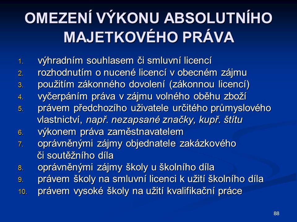 OMEZENÍ VÝKONU ABSOLUTNÍHO MAJETKOVÉHO PRÁVA 1.výhradním souhlasem či smluvní licencí 2.